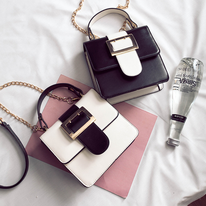 2017 Spring Summer New Hot Women Female Chains Simple Contrast Color Mini Flap Hasp Casual Shoulder Bags Messanger Bag Handbags ...