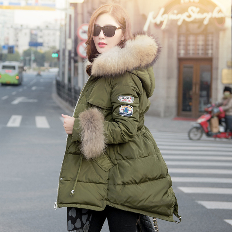 2015 Warm Winter Women Thick Big Raccoon Fur Collar Hooded Epaulet ...