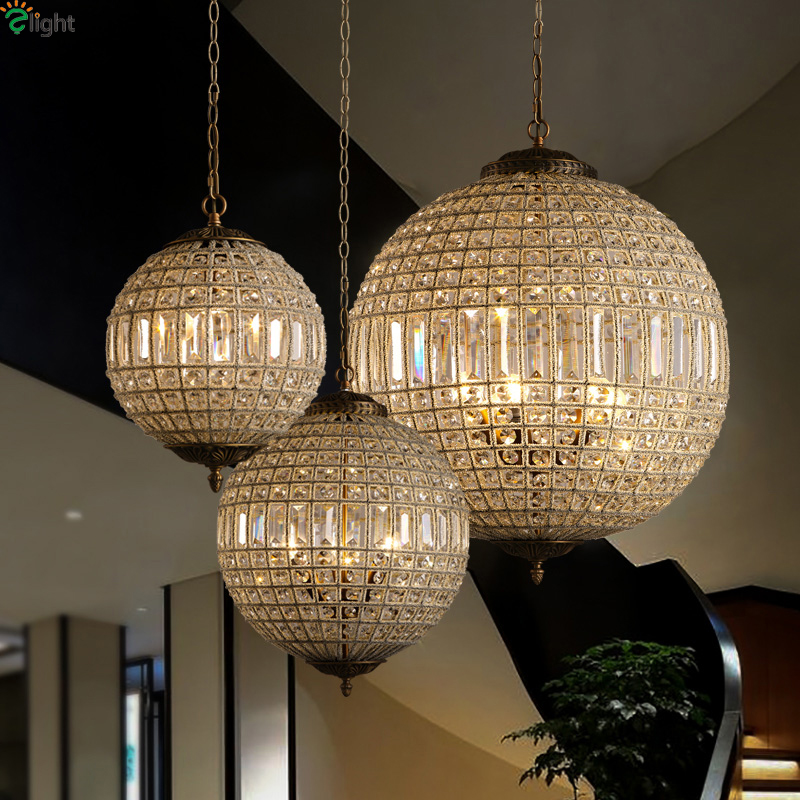 American Retro RH Crystal Led Pendant Lights Living Room Led Pendant Light Dining Room Led Pendant Lamp Hanging Light Fixtures mamei free shipping 3 lights crystal led pendant light fixtures for dinner room kitchen island led included
