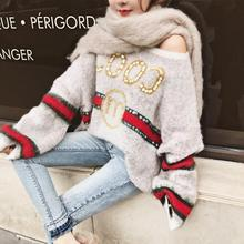 2019 bgsolid new sweater women's sweater can be off-the-shoulder knit mohair letter sweater female off shoulder drawstring cuff knit sweater