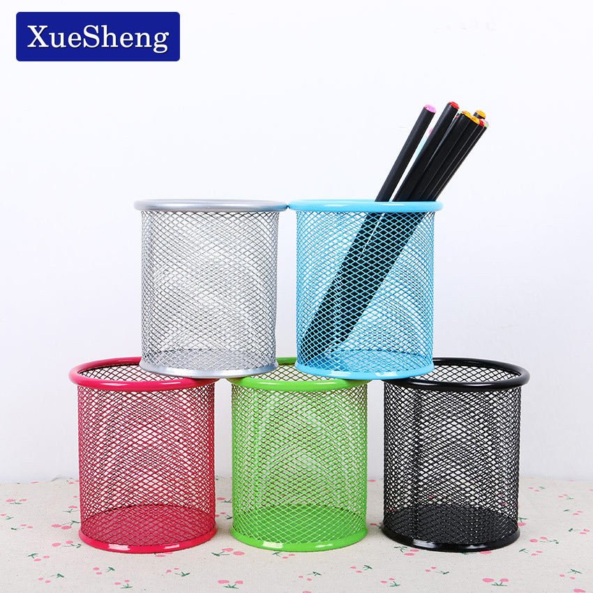 1 PC High Quality 5 Colors Office Organizer Round Cosmetic Pencil Pen Holders Stationery Container Office Supplies 1 pc cute cat pen holders multifunctional storage wooden stationery holders office organizer school supplies
