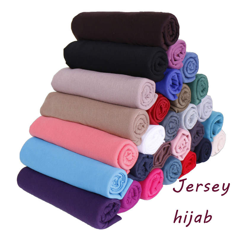 35 Colors High Quality Cotton Jersey Hijab Scarf Shawl Women Solid Elasticity Headscarf Muslim Headband Maxi Scarves Wraps 10pcs