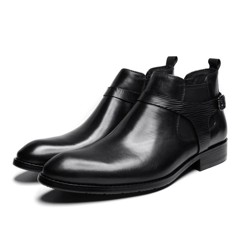 Stiefel Black Leder Aus Famous Echtem wine Kleid Fashion Quality Schnürung New Stiefeletten High Spitz Männer Marke 2018 Schuhe nYRUaqP