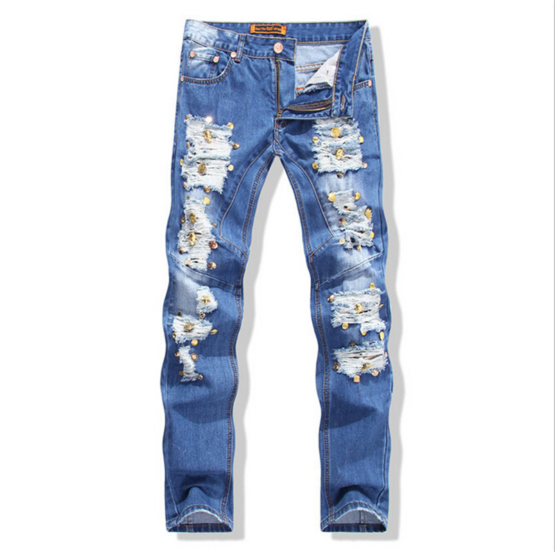 ФОТО 2015 Men Vintage Ripped Jeans Pant , Skinny for Men,Classic Male Solid Straight Trousers,30 38