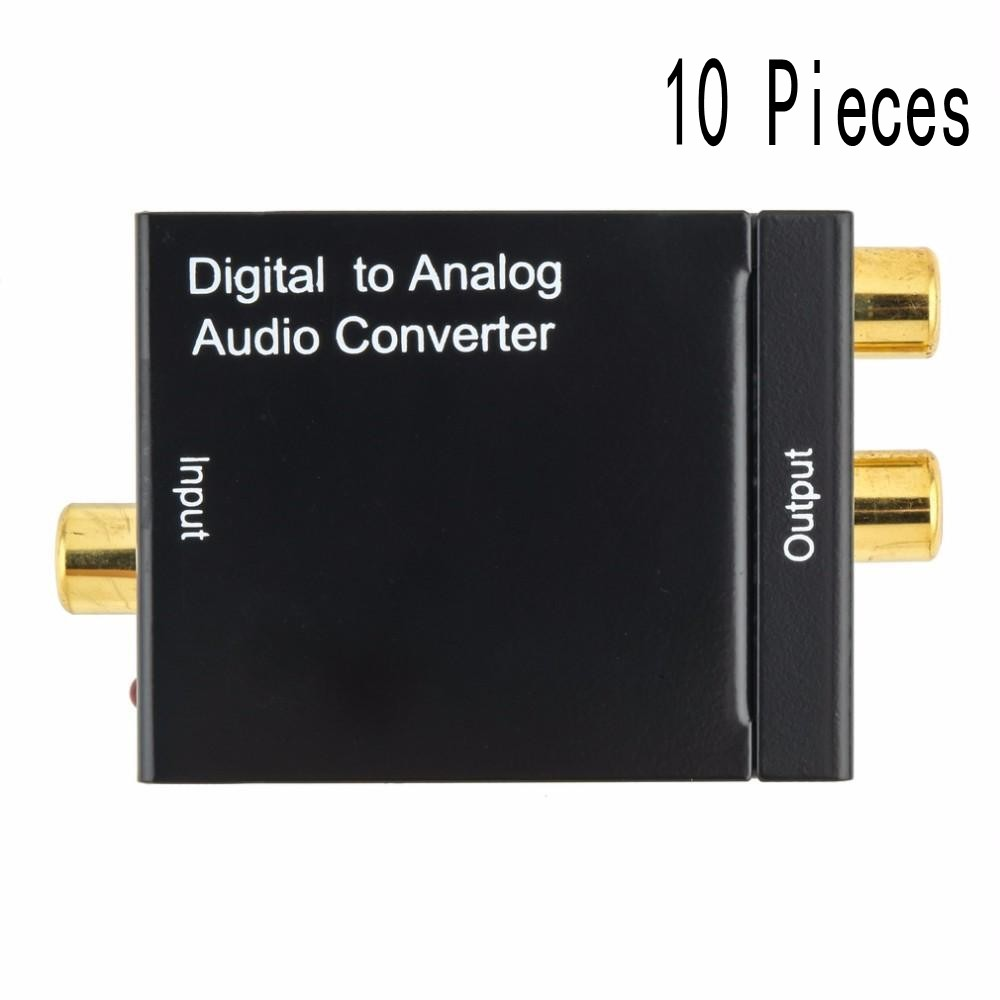 10 pcs high qualit Digital to Analog Audio Converter Adapter Optic Coaxial RCA Toslink Signal to
