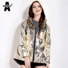 ACHIEWELL Autumn Boyfriend Women Jacket Hooded Pocket Zipper Long Punk Metallic Style Loose Casual Gold Rock Women Coat