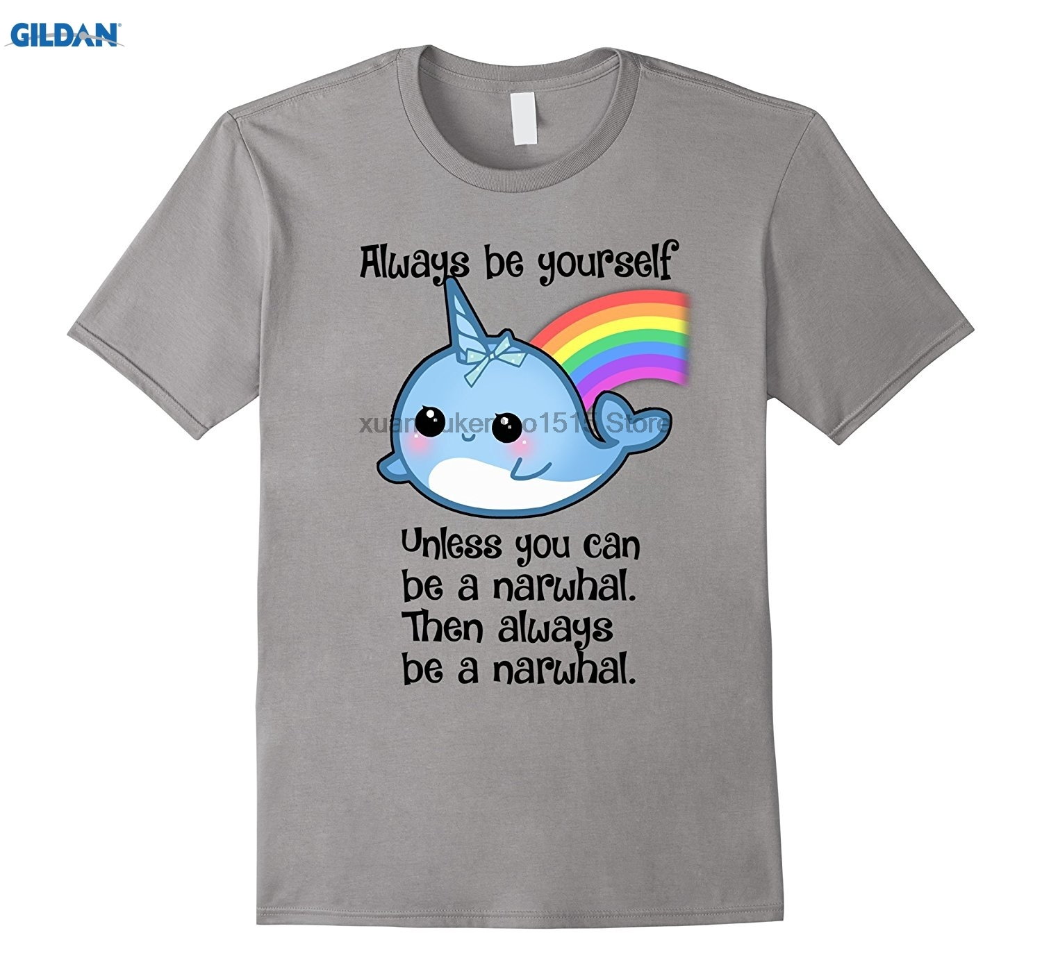 GILDAN 100% Cotton O-neck printed T-shirt The Be A Narwhal Shirt