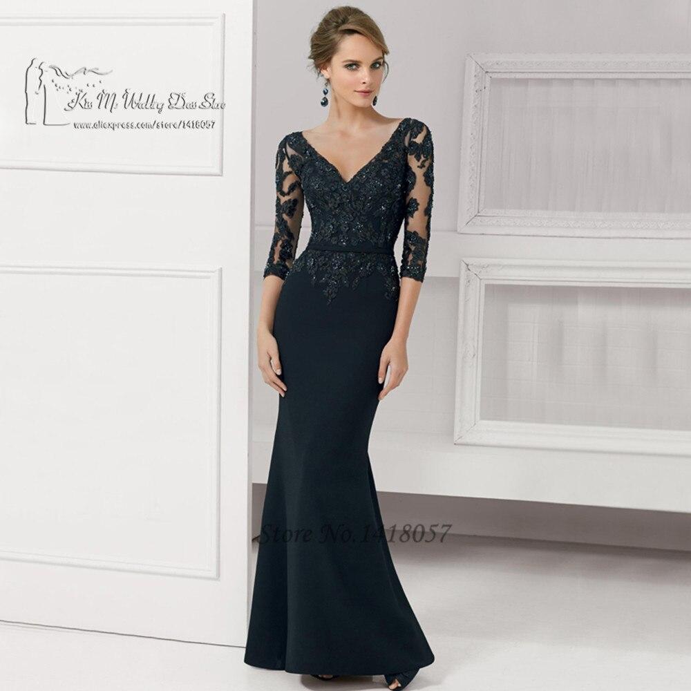0b6bbeb23 Robe de soirée largo vestidos de Noche negro de encaje rojo sirena madre de  la novia vestidos con cuentas 2016 mujeres Formal vestido de Noche en  Vestidos ...