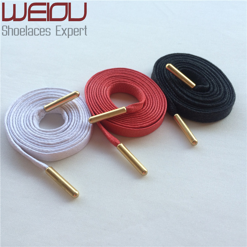 (50pairs/Lot)Weiou Gold metal aglets waterproof flat waxed shoelaces colored waxed shoe lace waxed cotton strings