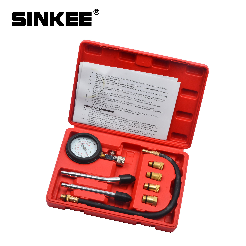8 Pcs Petrol Engine Compression Cylinder Pressure Tester Gauge M10 M12 M14 M18 Auto Truck Car 0-300 psi SK1031