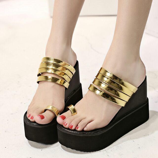 04cc751e60a637 New 2015 women platform sandals summer shoes bling flip flops wedge heels  women beach shoes slippers golden silver colors