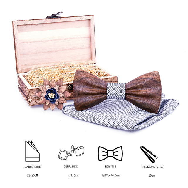 Boy's Fashion Wooden Bow Tie Set 2