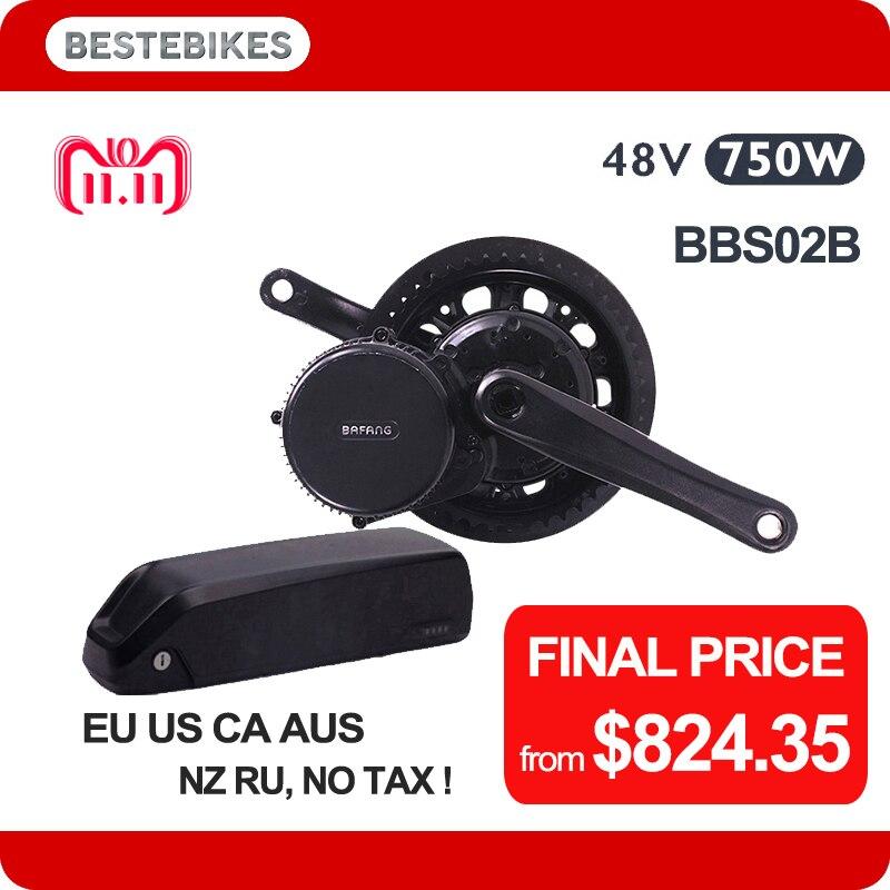 Bafang motor BBS02B 48 V 750 W velo eléctrico bicicleta eléctrica kit 840WH/48v17. 5ah samsung 35E EU US NO TAX