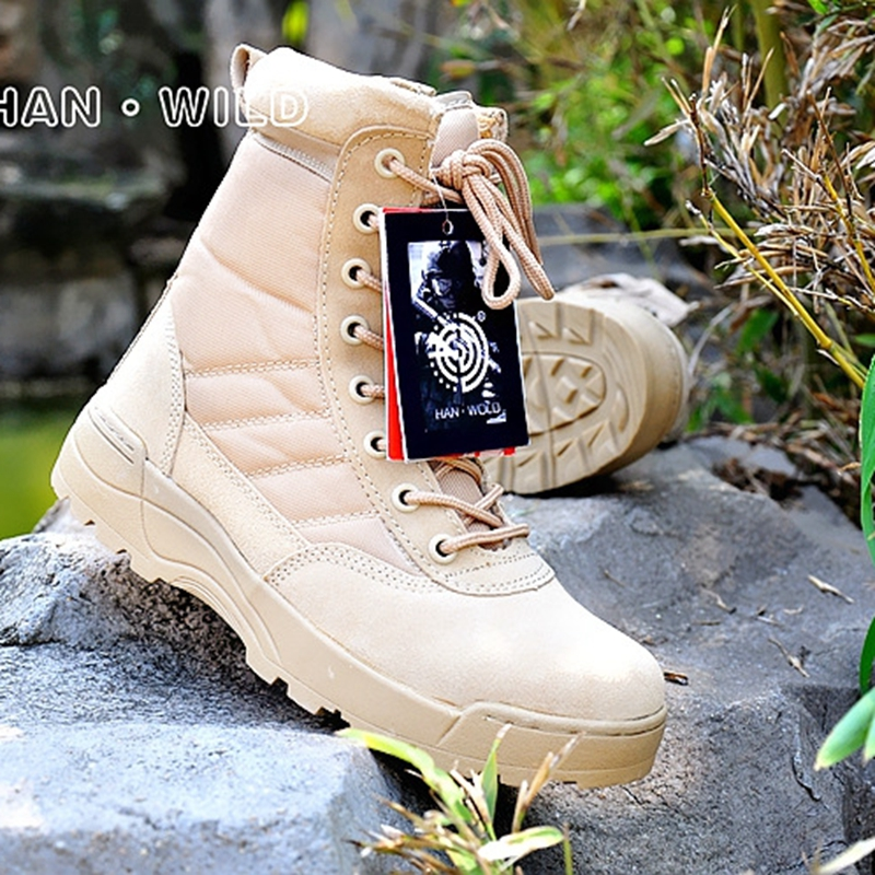 Chaussures de randonnée en plein air bottes tactiques militaires bottes de Combat du désert chaussures de sécurité en plein air avec fermeture éclair bottes de tir d'escalade