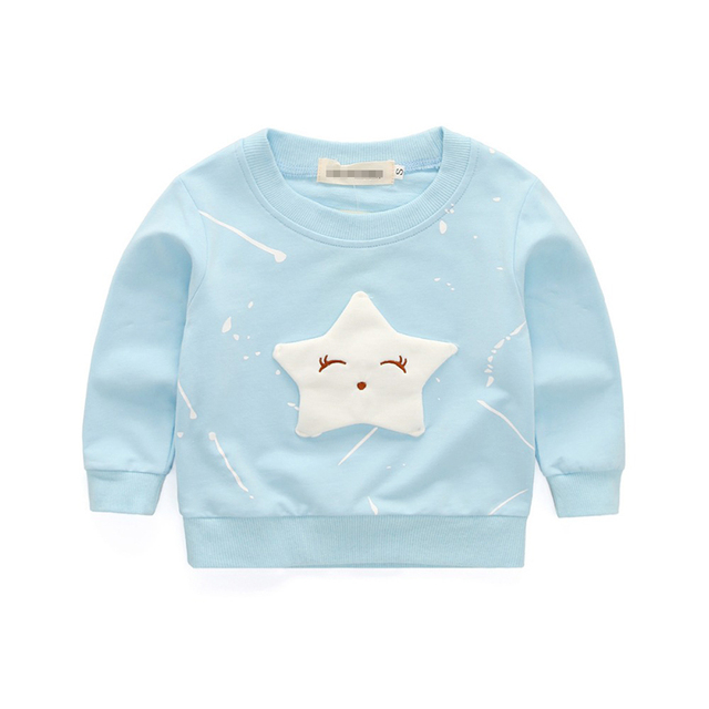 Lovely Children's Girls T-shirt Eyelash Star Printing Long Sleeve Casual Tees Girls Clothes for 0-4T Toddler Kid Tops & Tees