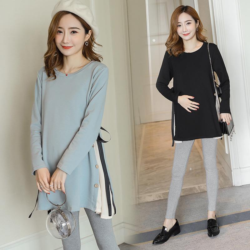 6627# Side Splits Bandage Maternity Shirts 2019 Spring Korean Fashion Loose Clothes For Pregnant Women Fall Pregnancy Tops Tunic