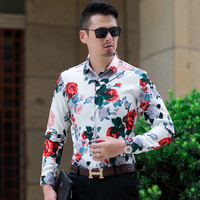 Plus Size 7XL 6XL 5XL Shirt Men Brand New Autumn Chinese Style Print Mens Casual Shirts Long Sleeve Loose Business Blouse Homme
