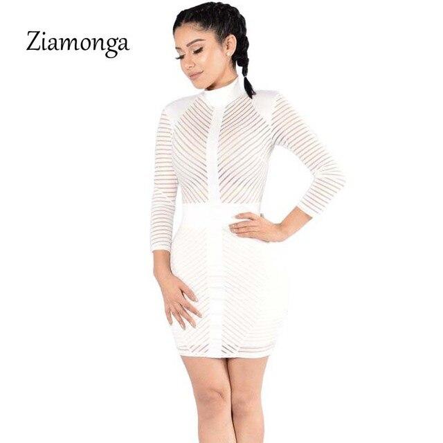 Ziamonga Women Long Sleeve Autumn Winter Dress 2017 Fashion White Mesh  Striped Bandage Dress Sexy Night c75a1a842ff5