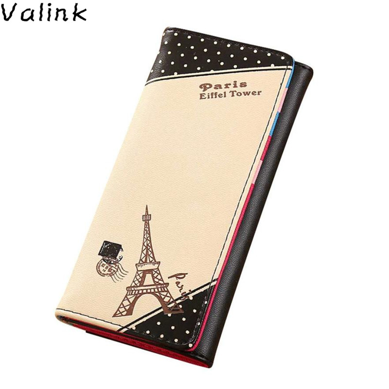 Valink 2017 Women Paris Eiffel Tower Hasp Coin Purse Designer Brand Long Wallet Card Holders Bolsa Women Wallets Carteras Mujer