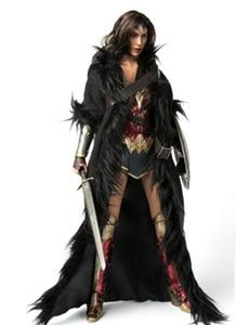 Image 3 - 1/6 Wonder Women Black Cloak with Belt Long Coat Models for 12 inches Action   Figure