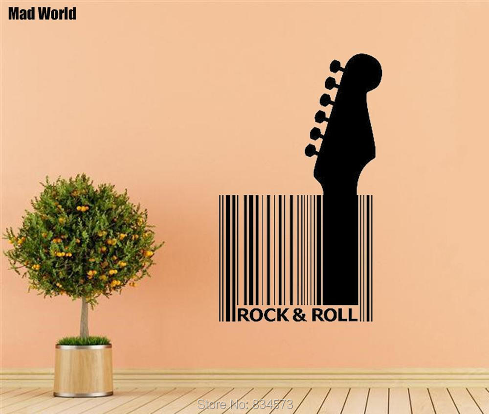 Mad World GUITAR BARCODE ROCK ROLL Wall Art Stickers Wall Decal Home ...