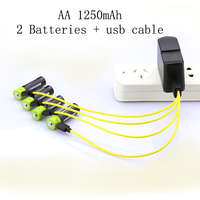 SORAVESS 2PC/Set aa Lipo lithium polymer 1250mAh Battery ZNTER Rechargeable 2A 1.5V With Micro Cable Cell For Camera Toys