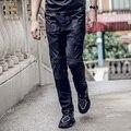 Fanzhuan Envío Libre del resorte de los hombres de moda masculina pantalones casuales 2017 Nuevo Microelastic 718033 parche pantalones de Lino negro