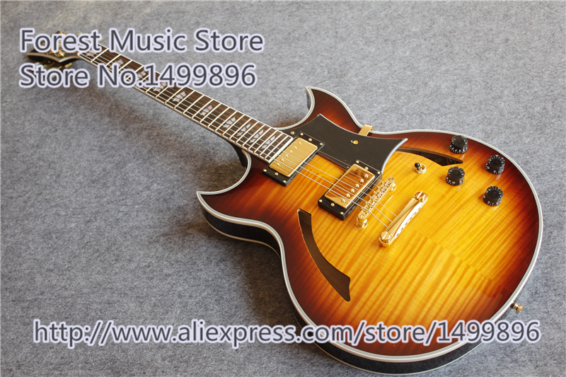 China Sunburst Vintage Finish Johnny A ES Jazz Guitar Hollow Maple Body For Sale high quality musical instrument cherry sunburst classical hollow guitar body es jazz guitars china lefty available