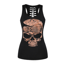 ONSEME Women Casual Sleeveless T Shirt YinYang Cat Print 3D Tank Tops Cool Flower Skull Tanks Back Hollow out Vest Casual Tees