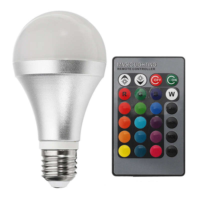 E27 12W RGBW Dimmable Smart Colorful Globe LED Light Bulb with Remote Control AC85-265V icoco rgbw led light bulb wifi remote control smart lighting lamp color change dimmable led bulb for android ios phone