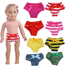Doll Panties Stripe with bowknot Clothes accessories Fit 18 Inch American Doll(China)