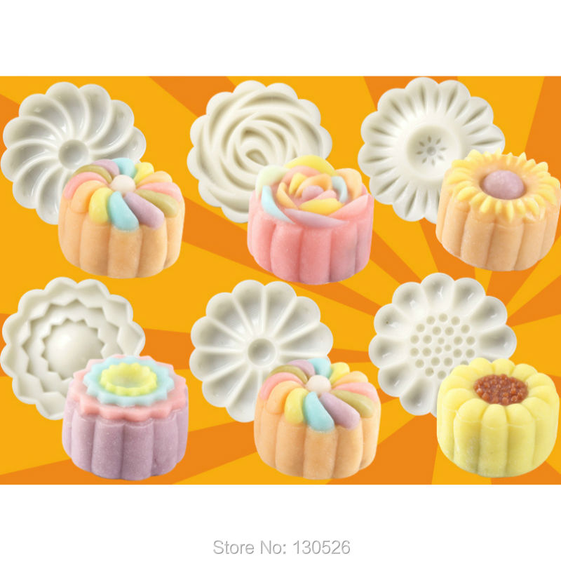 New Arrivals 50g Cake 6 1 Chinese Flowers Pattern Mooncake Mold Fondant Candy Pineapple Cake Cookie
