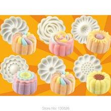 Neue Ankünfte (50g Kuchen) 6 + 1 Chinesische Blumen Muster Mooncake Mold Fondant Süßigkeit Ananas-kuchen Plätzchenform DIY Backen Liefert