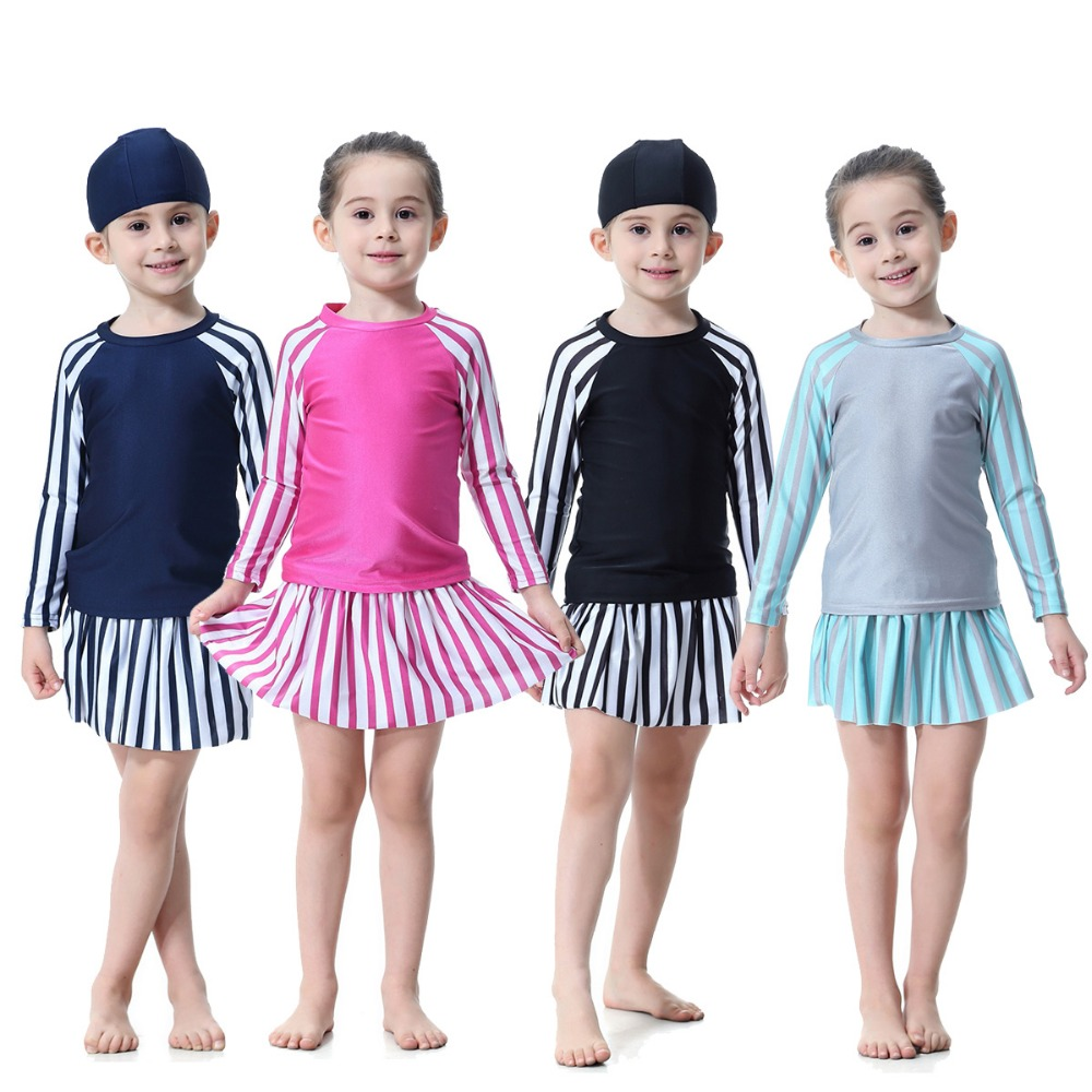 Girls Muslim Modest Swimwear Islamic Burkini Sun Protection Swimsuits