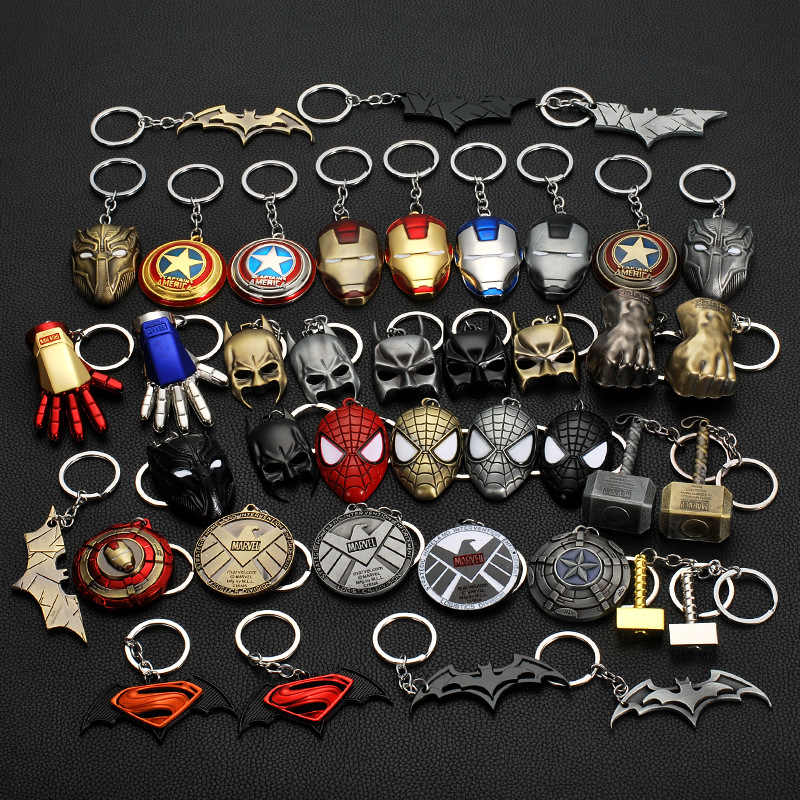 The Avengers Captain America Shield Spiderman Keychain Toy Bat Superhero Hulk Iron Man Marvel jewelry Metal Pendant Keychains
