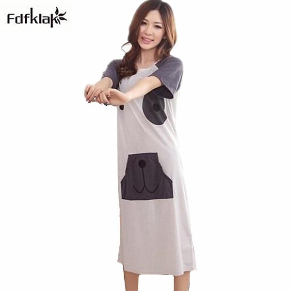 Long Nightgowns For Women Cute Cartoon Printed Nightgown Womens Sleepwear  Cotton Plus Size Loose Sleepshirts Nightshirt Q153-in Nightgowns    Sleepshirts ... f9f019c19