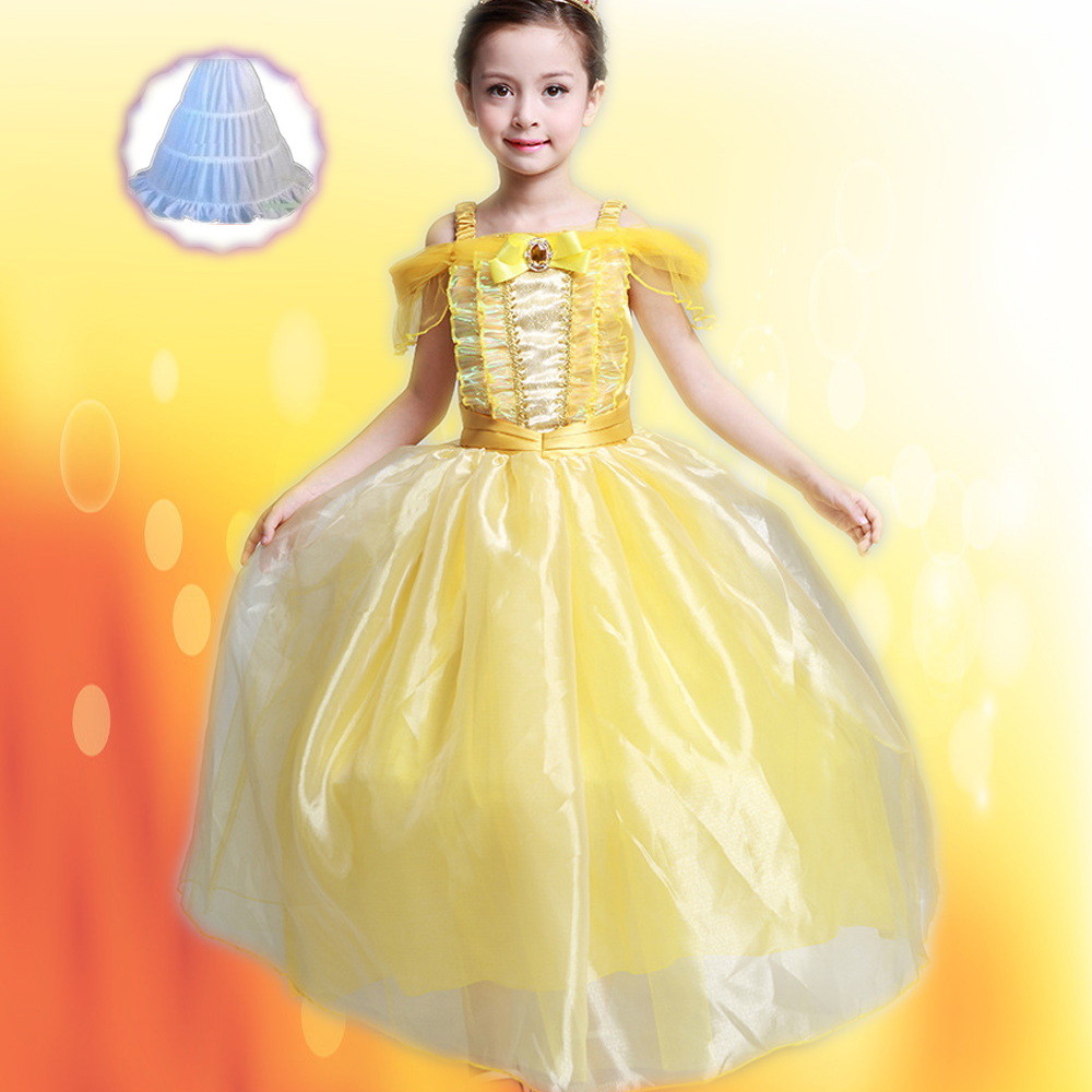Kids Fair Girls Christmas Costumes Long Dresses Beauty and The Beast Cosplay Clothing Christmas Children Princess