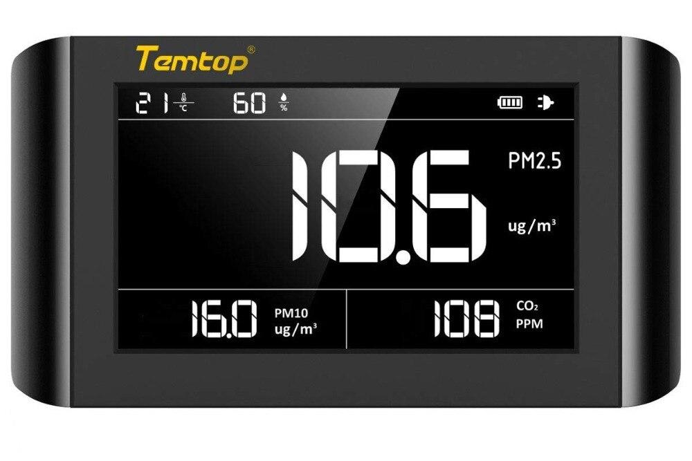 Temtop P1000 Qualità Dell'aria Monitor per PM2.5 PM10 CO2 Rilevatore di Umidità di Temperatura Interna Display LCD di Grandi Dimensioni batteria Ricaricabile