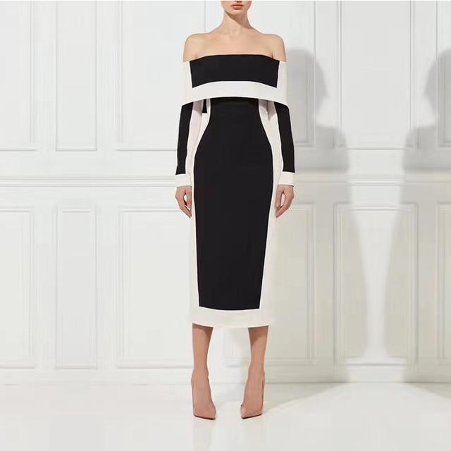 Women Bandage Dress Fashion Black White Off Shoulder Long Sleeve Bodycon  Elegant Slash Neck Midi Evening Party Dresses Vestidos a0cffed43861