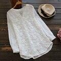 Primavera das Mulheres Doce Casual Manga Comprida Bordado Crochê Rendas de Algodão Branco Feminino Princesa Tops Blusas Camisa Mori Menina U553