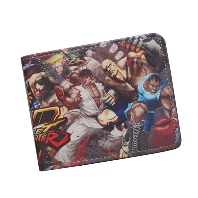 STREET FIGHTER Wallet Cool Short Leather Wallet For Teenager Boy Girl ID Card Holder Money Bag Retro Nintendo Game Wallet Purses pocket monster pokemon wallet teenager boy girl kawaii pikachu poke ball wallet naruto student dollar bag card holder purse 12