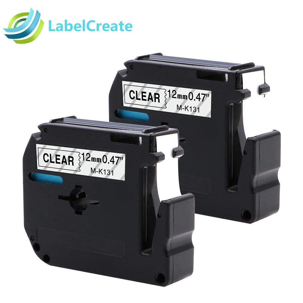 2 Pack M-K131 Black on Clear Label Tape For Brother MK131 PT-65 PT-65SB Printer