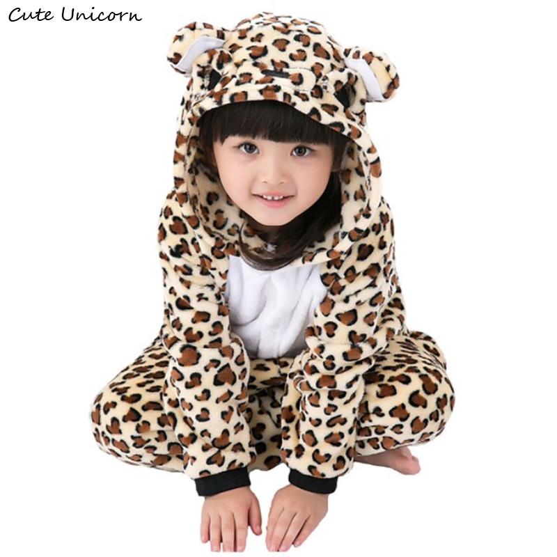 b545601c21 Children Clothing Leopard Bear Animal Pajamas Cosplay Costumes Unisex kids  clothes Boys Girls Flannel Sleepwear Onesies Pyjama