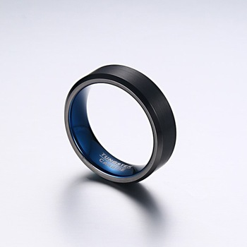 Black Brushed Effect Tungsten Rings 4