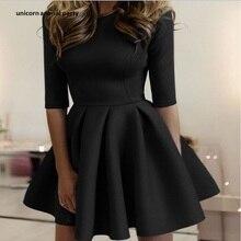 Fashionable dress Half sleeve dress black and white pure color round lead dress tight big pleated wave dress Mini dress pure color 1 2 sleeve pleated dress