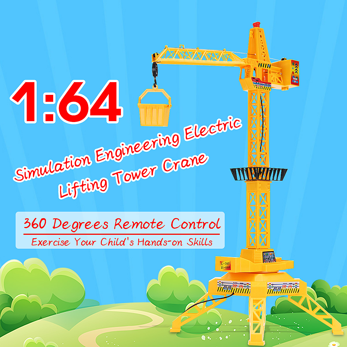 1:64 Remote Control Crane Hobby Kid Lift Tower Crane Cable Channel 4 Remote Control Engineering Toys Engineering Crane