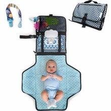 Портативный пеленальный коврик с мягкой подушкой на голову | Чехол для соски и силиконовый контейнер для детского крема | Водонепроницаемый сменный коврик