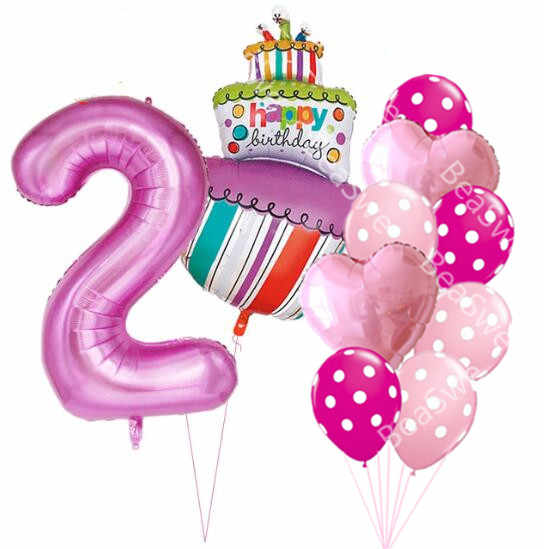 40 Inch Pink Blue Number 1 2 3 4 5 Year Old Birthday Cake Balloons Baby