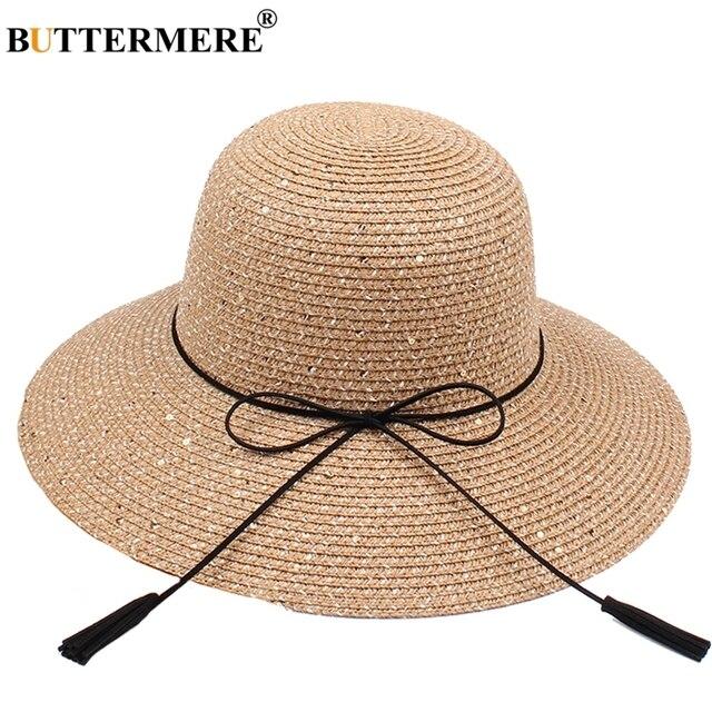 BUTTERMERE verano señoras sol sombrero Bowknot marrón playa Sombreros de  Panamá para las mujeres elegante Casual 7b1cb830947