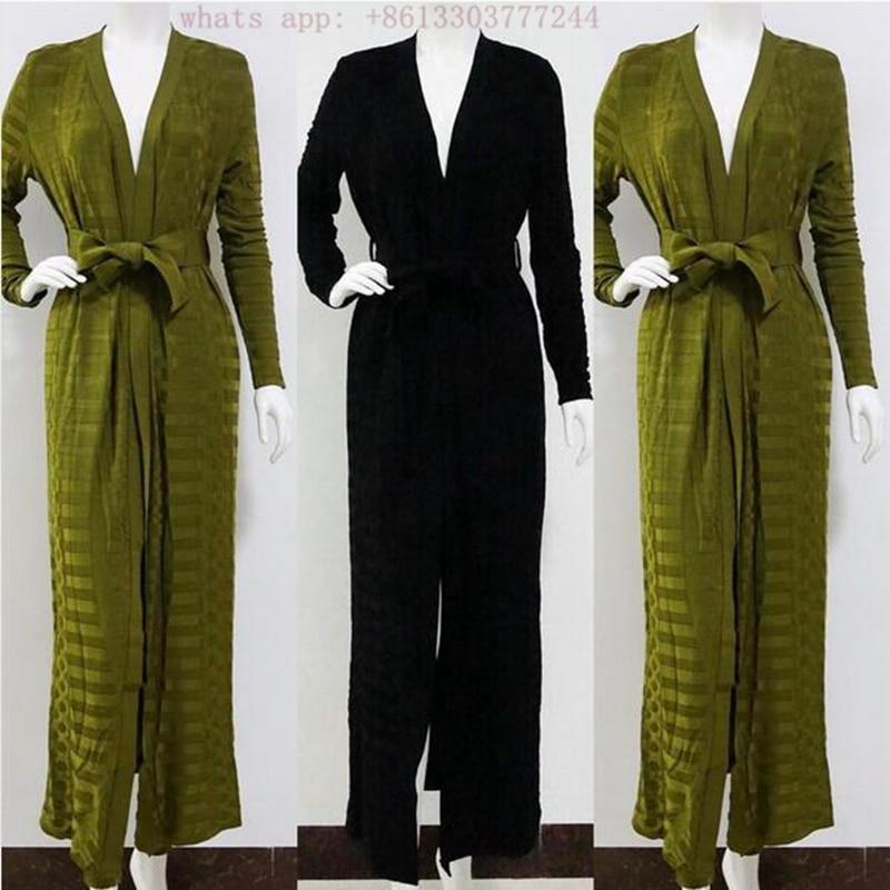 Robes Piste Femmes Longue Veste Green kaki Dame 2017 Élégante Célébrité army Bandage Pantalon 2 Long De Cardigan Ensemble Manteau Noir Pièces D'hiver Deux ZCpqdCw8x